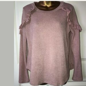 Karlie pink naive sweater size L poly ruffles
